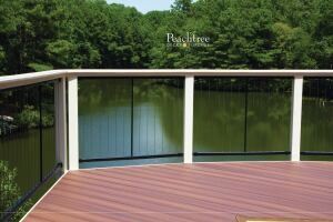 Fortress vertical stainless steel cable railing panels are shown on a deck built by Peachtree Decks and Porches, in Georgia.