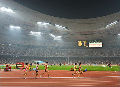 The Beijing National Olympic Stadium (Bird's Nest) during the 2008 Olympics.