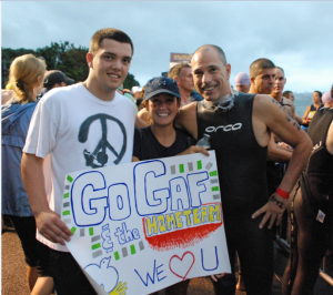 Gaffney (right) runs many races with family and friends to raise funds for Covenant House.