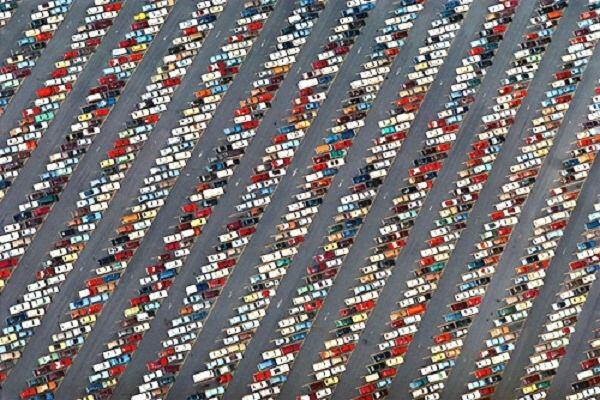 """Alex MacLean, """"Hounds Tooth Pattern in Parking Lot at Disney World,"""" 2009."""