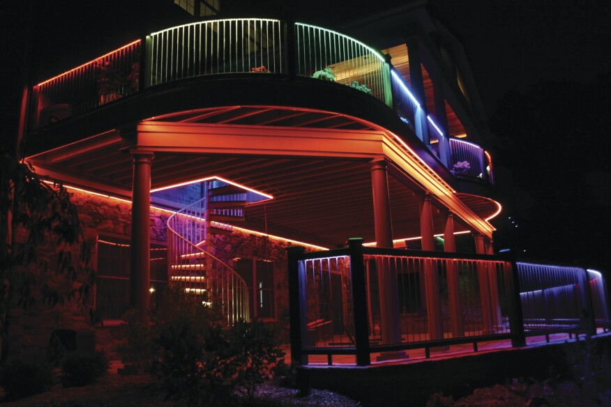 The deck is illuminated by digital RGB LED lighting strips, which have about 10 individually controllable LEDs per foot.