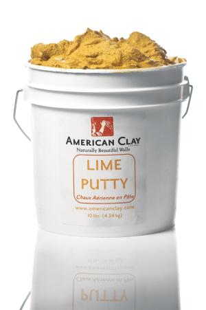 American Clay Enterprises new Lime Putty, which is made with U.S.-sourced lime, can be used for gauging the companys Earth Plasters (to increase hardening) and also mixed to make a limewash. As a gauging material, Lime Putty can be added to both American Clays original and commercial plasters. The addition of Lime Putty reduces the working time of the plaster, but the end result is a harder finish, achieving near maximum hardness in six months. When used as a limewash, Lime Putty adds sheen and can cover 200 to 400 square feet per gallon per coat. It comes in 1-gallon buckets weighing 10 pounds and should be applied by American Clay Artisans or experienced plaster professionals. americanclay.com