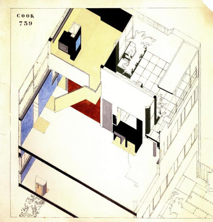Le Corbusier's drawings for Maison Cook, in Boulogne-sur-Seine, France, circa 1926.