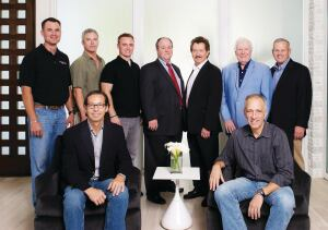 Front row (seated; l-r): Phil Kean, president, Phil Kean Designs, Winter Park, Fla.; Brad Grosberg, vice president, Phil Kean Designs. Back row (l-r): Marc Krebs, site manager, Phil Kean Designs; Rob Turner, president, CRT Studio, Winter Park; Jeff Bankert, executive producer, NAHB Digital, Washington, D.C.; Mark Pursell, senior vice president, Exhibitions, Marketing & Sales, NAHB, Washington; Tucker Bernard, director, NAHB Leading Suppliers Council and The New American Home, Washington; Bill Nolan, TNAH 2012 task force vice chairman; Alex Hannigan, construction manager, Phil Kean Designs; not pictured: Chuck Edwards, TNAH 2012 task force chairman.