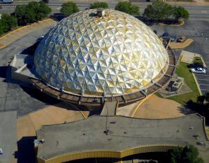Recent aerial of the Gold Dome building, formerly the Citizens State Bank