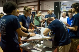 Mandeville (La.) Public Works provided open house space for a local high school Robotics Team to debut their latest competition model. Director David DeGeneres (blue polo shirt) looks on. Photo: Alex Meyer