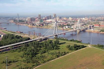 The Stan Musial Veterans Memorial Bridge is scheduled to open in St. Louis on Feb. 9. The 2800-foot bridge, with a main span of 1500 feet, is the third longest cable-stayed bridge in the U.S.