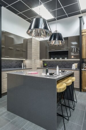 Sit Back & Relax. Builders can sit in the kitchen area with clients as they make cabinet selections.
