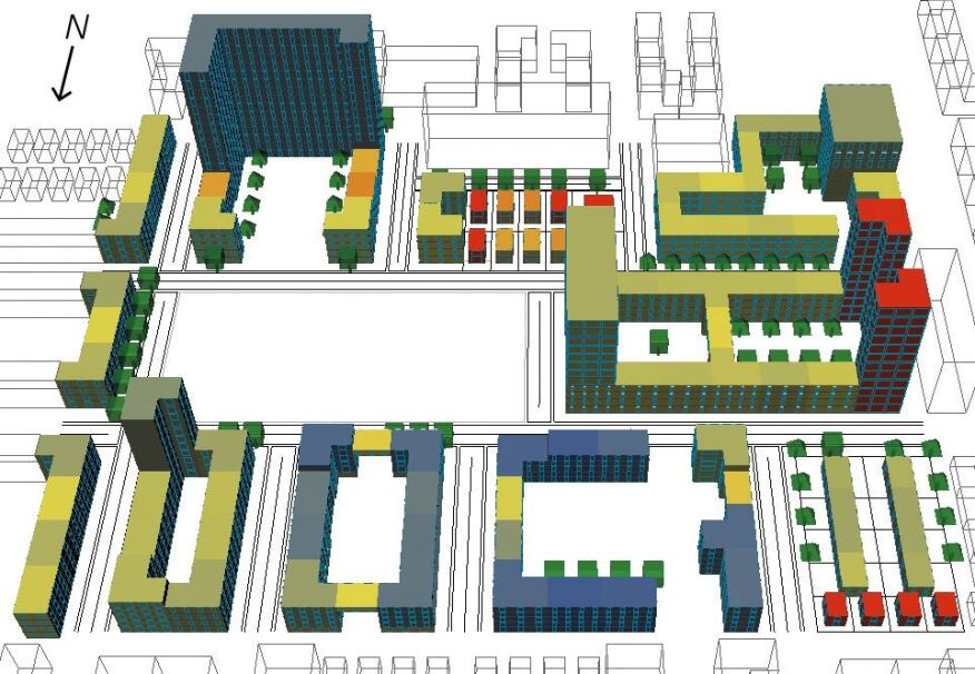 MIT Sustainable Design Lab performed a case study of this hypothetical Boston neighborhood, first using Rhinoceros modeling software to define the layout of buildings, trees, parks, and courtyards. The Lab's own urban modeling interface (UMI) tool then calculates the energy use of each individual building by drawing from publicly available climate and solar-radiation data while taking into account the effect of neighboring objects such as other buildings and trees. Buildings with high energy-generation capacity are reddest in color.