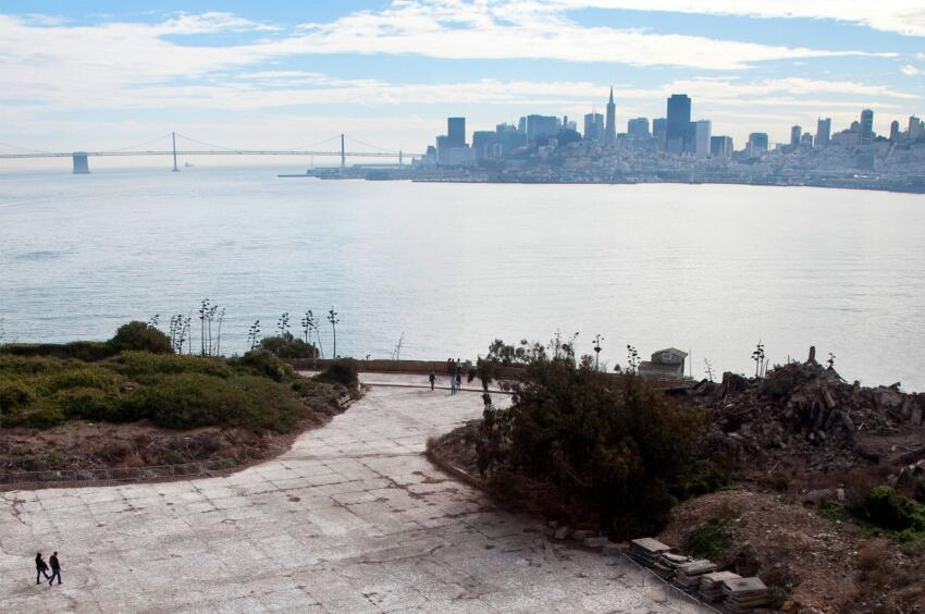The San Francisco skyline seen from Alcatraz Island.