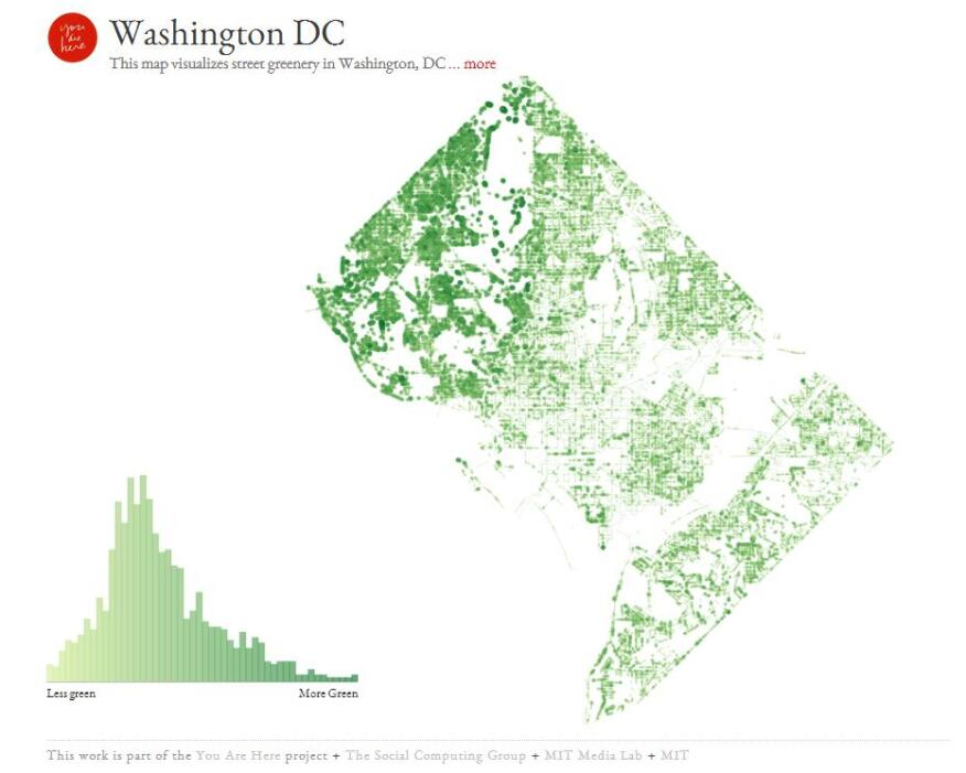 "A good map, MIT's Kamvar says, ""comes from the heart rather than the head."" He was motivated to generate new maps because he ""realized there was so much about everyday feeling that was inspired by design. I just wanted to show more of that."" (Greenery maps for Cambridge, Mass., and Washington, D.C., shown.)"