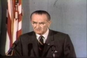 President Lyndon Johnson signs the Fair Housing Act in 1968.