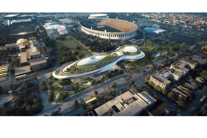 Rendering of Lucas Museum of Narrative Art in Los Angeles