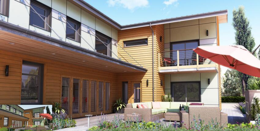 Rendering of residential exterior created in SketchUp (inset) with SU Podium plug-in