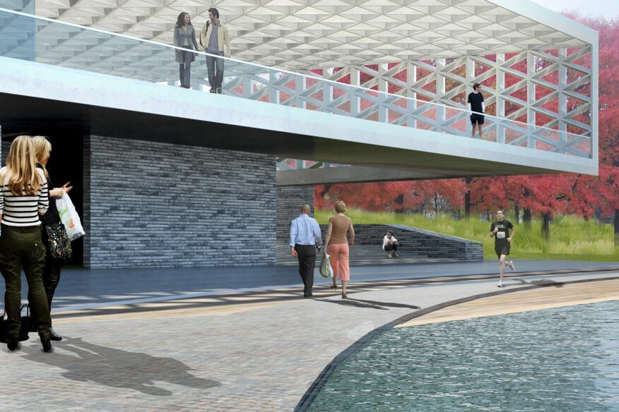 Rendering of the Waterfront Terrace in the Constitution Gardens