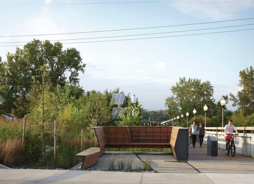 KEM Studio enhanced the existing Town of Kansas Bridge with benches and   bike racks.