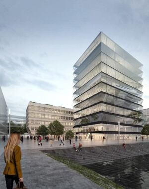 Mainz Hafenspitze is an ensemble of two office buildings in a harbour transformation area.