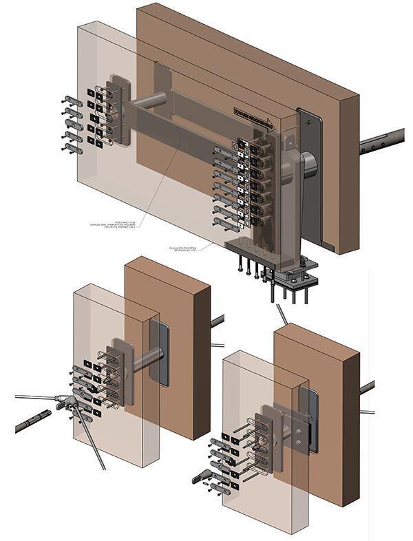 Axonomteric diagram of a Douglas fir beam detail.