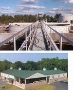 Top: Fast-paced growth in Forsyth County, Ga., led to a need for additional wastewater treatment services. The 1.25 mgd Fowler Water Reclamation Facility, commissioned under a design-build-operation agreement, began operations in 2004. Bottom: This 3.6 mgd water treatment facility in Marlboro, Mass., provides a supplemental source of drinking water to approximately 76,000 business and residential customers. It is operated by a staff of three. Photos: Woodard & Curran