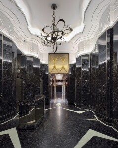 The spectacular lobby reflects the Walker's original Art Deco style.