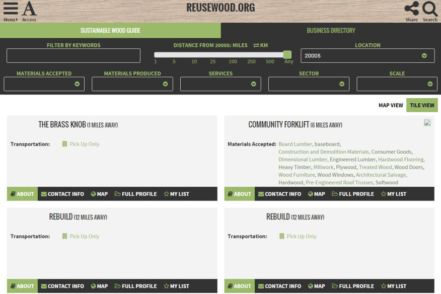 A screenshot of Reusewood.org's Business Directory.