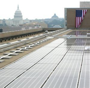 The 205 kilowatt solar array atop the Department of Energy's Forrestal Building will generate approximately 200 megawatt hours of electricity annually, providing up to 8 percent of the complex's energy during peak hours.