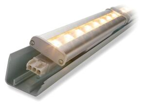 "LED Cove Lighting System    GE  ge.com  Suitable for casino, hospitality, and retail applications - Contains no lead, mercury, or glass - Delivers more than 290 lumens per foot - 2-1/2 times the performance life of fluorescent systems - Compared with halogen systems, reduces energy costs by more than $117,000 per 1,000' over lifetime - Measures 12.8"" long"