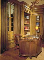 Merchandised as a study for him, the library features custom trim, stained woodwork, and a copper glazed ceiling. A secret chamber serves as safe room or hiding spot for valuables.