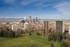 Denver skyline and Cheeseman Park.
