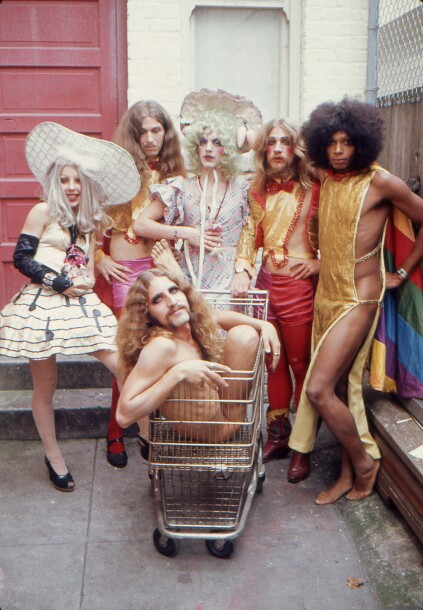 San Francisco performance troupe The Cockettes (in a 1972 photograph by Clay Geerdes) specialized in psychedelic renditions of classic show tunes.