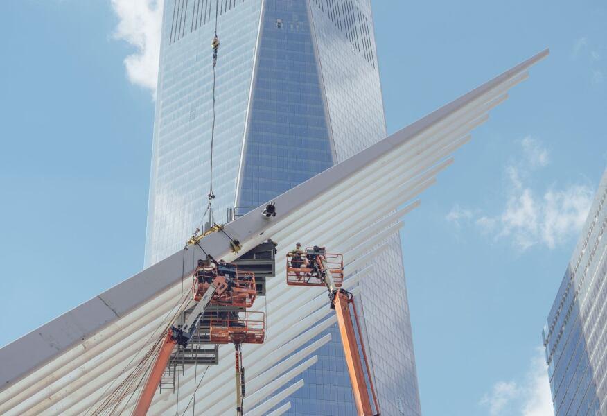 The World Trade Center PATH Station, by Santiago Calatrava, FAIA, is still under construction.