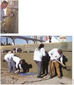 Above: Vertical, stampable overlay cements can be trowel-applied up to 2 inches thick without sagging, and they bond to just about any surface. Below: At the 2005 World of Concrete Mega Demos, workers applied overlay cement using shotcrete guns, troweled and textured the surface, and impressed an ashlar stone pattern.