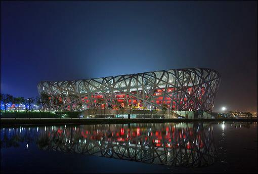 The Beijing National Olympic Stadium for the 2008 Olympics, aka the Bird's Nest, by Herzog & de Meuron with Ai Weiwei.