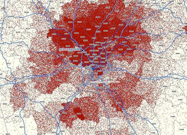 The red dots on the map indicate game tickets sold in 2012.
