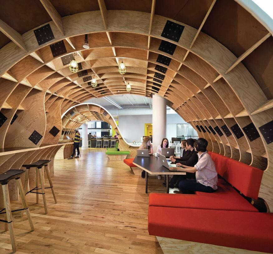 Breakout spaces for teams to work are found under the arches.