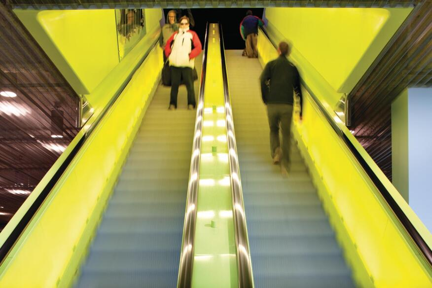 The chartreuse elevators in the library,   hip in 2004, seem a little dated now.