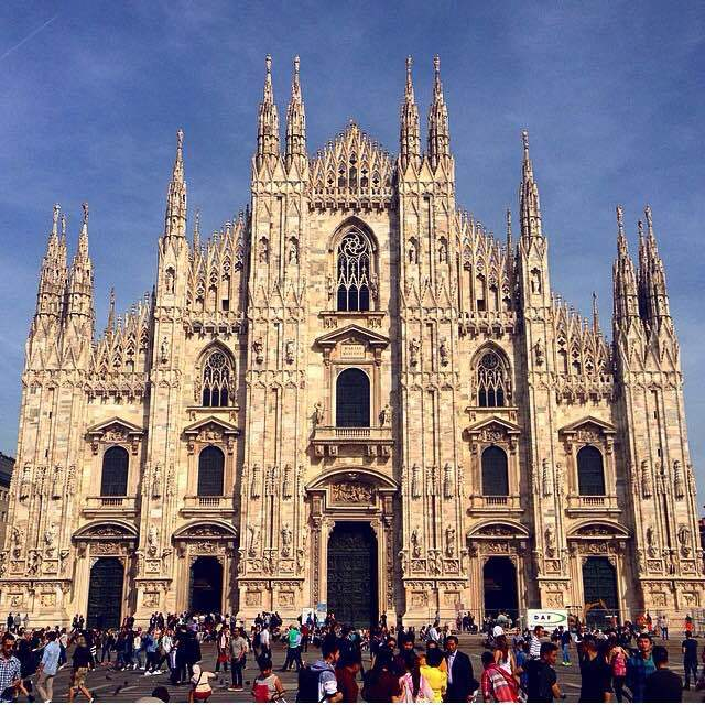 The Milan Cathedral on the Piazza del Duomo.