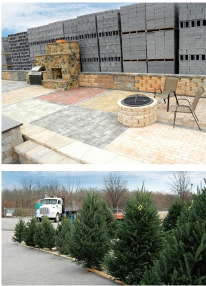 LOTS OF CUSTOMERS: The outdoor patio display at Valley Building Supply drew so much traffic, the dealer built another one at its Staunton, Va., lot 20 miles away. Below: Anderson Lumber of Alcoa, Tenn., sold all but four Christmas trees at its holiday sale. The key to success, dealers say, is a highly visible location.
