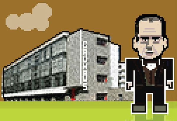 Walter Gropius, with the Bauhaus Building.