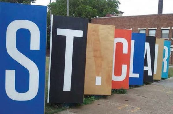"The St. Clair neighborhood ""welcome sign"" art installation as a part of the community's upcycle initiative."