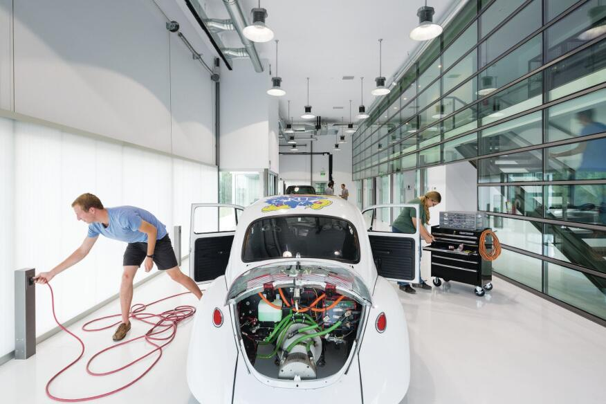 Researchers test alternative car-charging methods in the main bay, which is shielded from the sun by Aerogel panels that raise and lower over the windows.