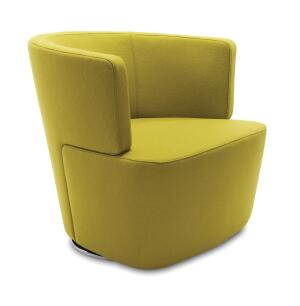 """A modern reinterpretation of the club chair, Joel, distributed by Coalesse, encourages sociability, dialogue, and decision-making in a variety of live-work settingsfor example, in a lobby or as a guest chair. Designed by Eoos for Walter Knoll, the chair features double-needle stitching along the back and two-piece construction. It has an integrated swivel return mechanism allowing users to pivot easily and then automatically return the chair to its original position. The base comes in a highly-polished, environmentally friendly trivalent chrome finish. Built to order in six weeks, it comes in a wide variety of fabric and leather options. The chair measures 29"""" deep by 30-1/4"""" wide by 27-1/2"""" tall. coalesse.com"""