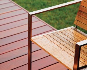 """The newly formed Edwin Blue, a handmade modern furniture company, has launched a new outdoor line, the Rise collection. The line is offered in two varieties of hardwood, old-growth sinker cypress and FSC-certified machiche, and has a 304-type stainless steel frame with nonmarking, UV-, and corrosion-resistant low-density polyethylene feet. Rise includes low-lying, casual seating, lounging, and dining options, including dining and side tables, lounge chairs, ottomans, and bar stools, and each piece is made in the United States. The line also includes a 43-1/2""""-by-36-1/4"""" bar. edwinblue.com"""