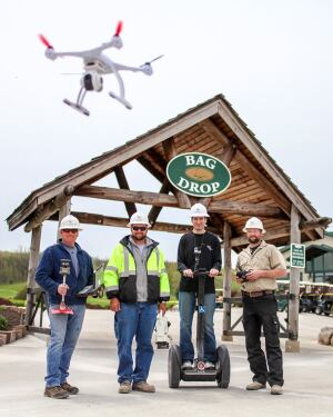 Always alert to the technology edge, SCCI employees use a cell phone app to place ready-mix orders, a Segway, and a drone to create videos from a different perspective.