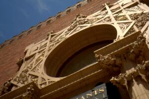 "Detail of the Merchants National Bank (1914), one of Sullivan's ""Jewel Box"" banks found throughout the Midwest."