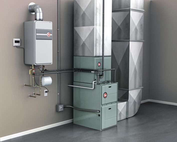 Rheem Integrated HVAC and Water Heating System powered by Tankless Technology