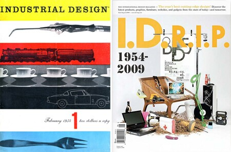 The covers of the inaugural issue of Industrial Design and the final print issue of I.D.