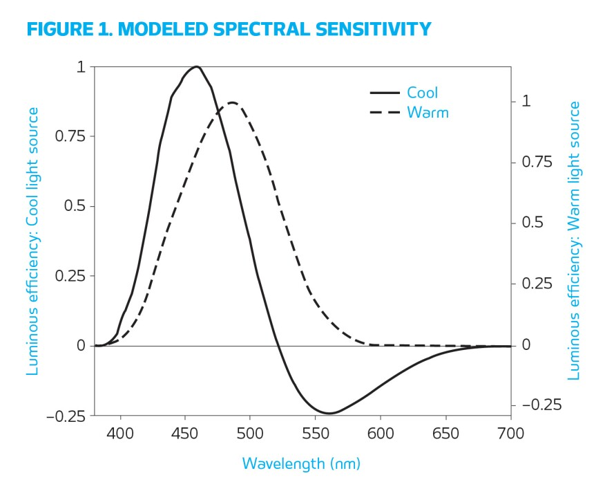 Figure 1. Circadian light is determined by these spectral weighting functions for cool and warm light sources.