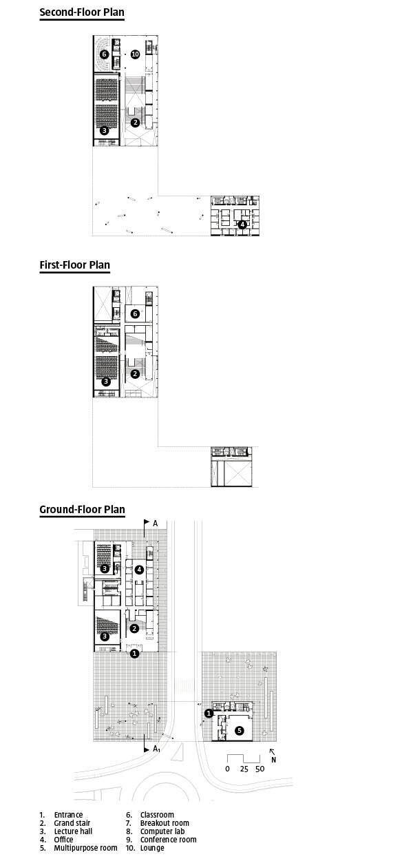 Floor plans: Ground level through second floor.