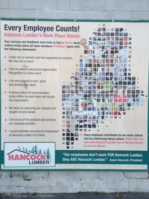 """Every Employee Counts"" sign at Hancock Lumber"